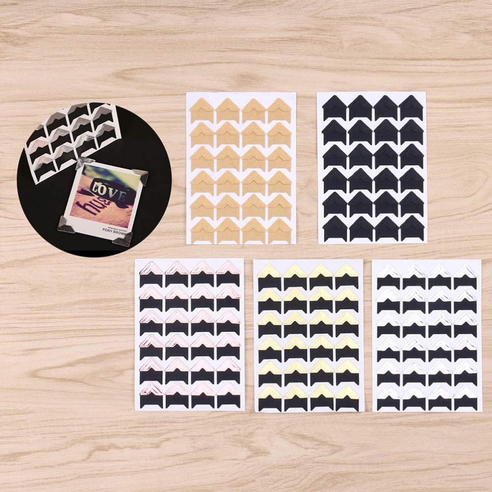 Healifty 15 Sheets Self Adhesive Acid Free Photo Mounting Corners Stickers for Scrapbooks Memory Books Album Dairy Silver