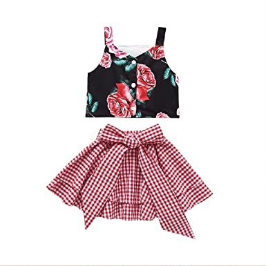 3e88caa5de Amazon.com: MOLYHUA Tank Tops for Girls with Red Bow Plaid Skirt, Toddler  Girl Floral Print Tank Top Set Summer Outfits: Clothing