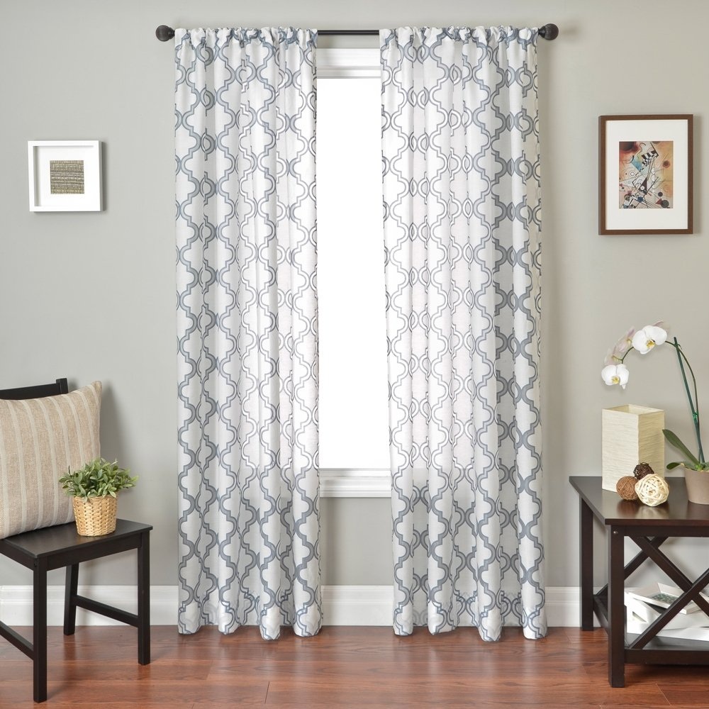Softline Presidio Burnout Window Sheer//Panel // Drape//Decorative Curtain with Rod Pocket 55 x 84 55 x 84 Softline Home Fashions Inc PENRBsilvwht84RP Silver//White
