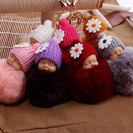 7 Piezas 7 Piezas Pompon Llaveros de Juguete de Peluche de Mu/ñeca Beb/é Llaveros Originales Colgante Accesorios de Coche Moto Tel/éfono Bolsos para Mujeres