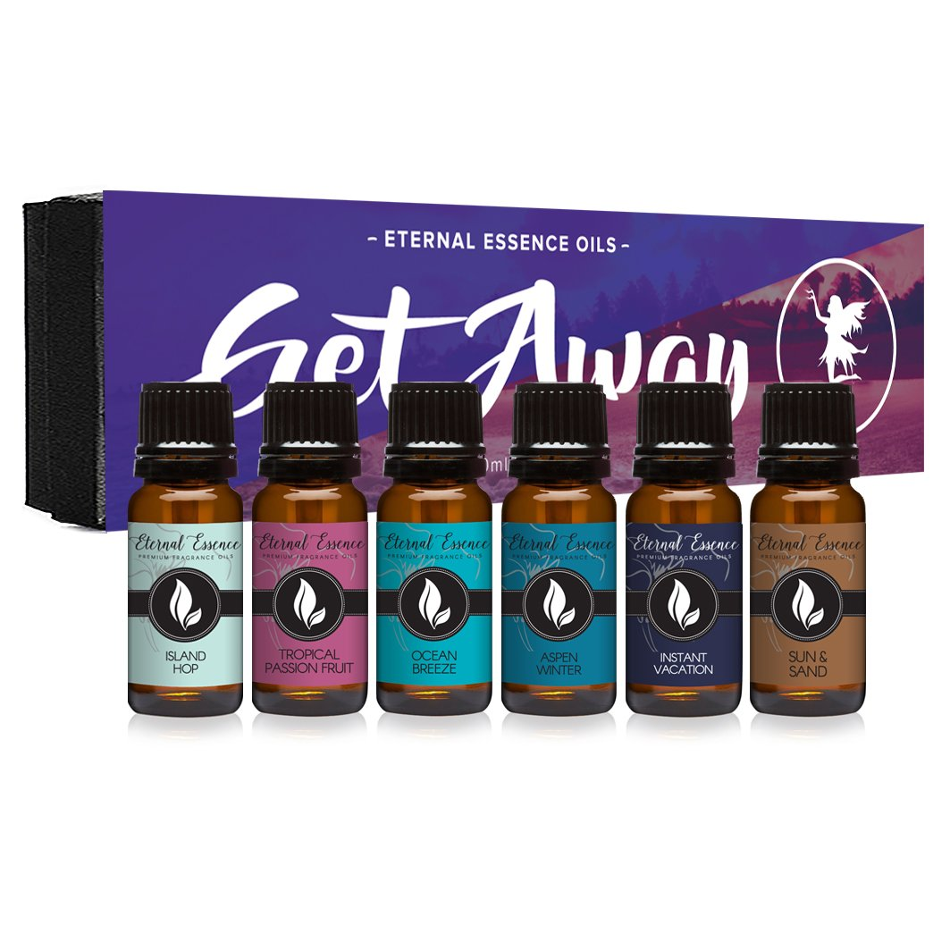 Get Away Gift Set of 6 Premium Grade Fragrance Oils - Island Hop, Ocean Breeze, Tropical Passion Fruit, Aspen Winter, Instant Vacation, Sun & Sand - 10Ml - Scented Oils