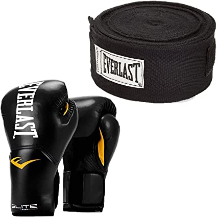 Pink and 120 Inch Hand Wraps White Everlast Elite Pro Boxing Gloves Size 8