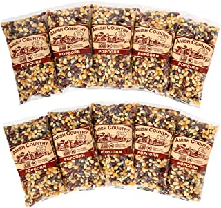 product image for Amish Country Popcorn | 10 - 4 oz Bags | Rainbow Popcorn Kernels | Old Fashioned with Recipe Guide