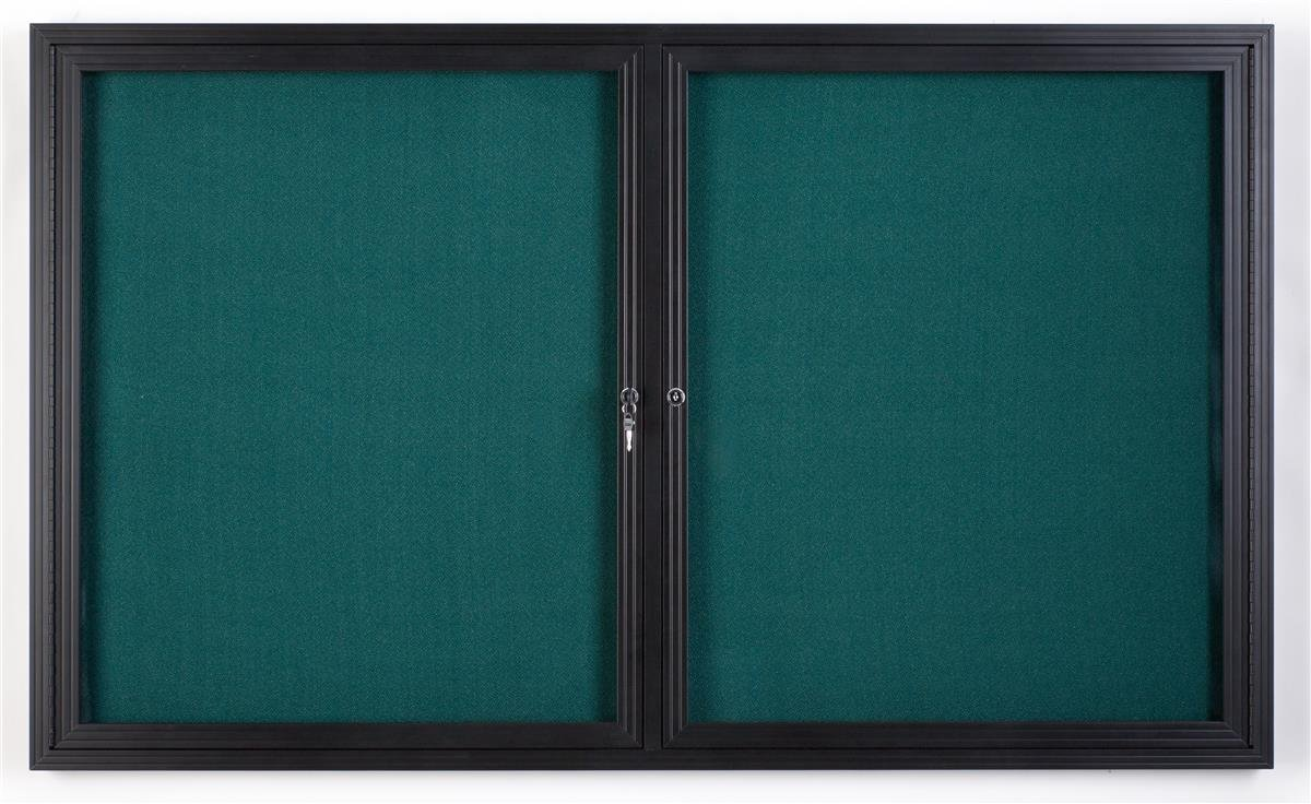 Displays2go 5 x 3 Inches Enclosed Teal Fabric Bulletin Board with 2 Locking Doors, 60 x 36 Inches Tackboard for Wall Mount-Indoor Use Only, Aluminum Frame with Semi-Gloss Black Finish (FBSW53BKTL)