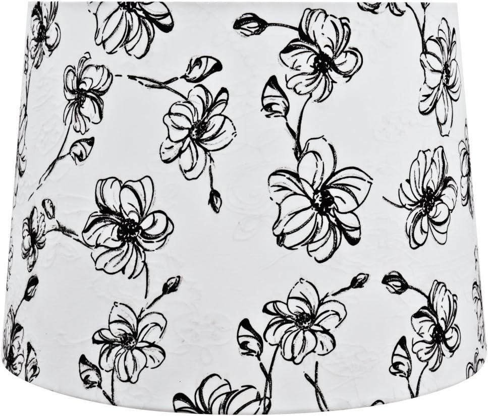 Aspen Creative 32323 Transitional Hardback Empire Shaped Lamp, 12 x 14 x 10 , White Black Floral