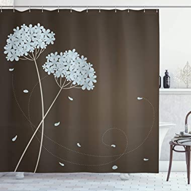 Ambesonne Brown and Blue Shower Curtain, Floral Design with Swirl Lines Falling Leaves Autumn Inspired, Fabric Bathroom Decor Set with Hooks, 75 inches Long, Brown Seafoam