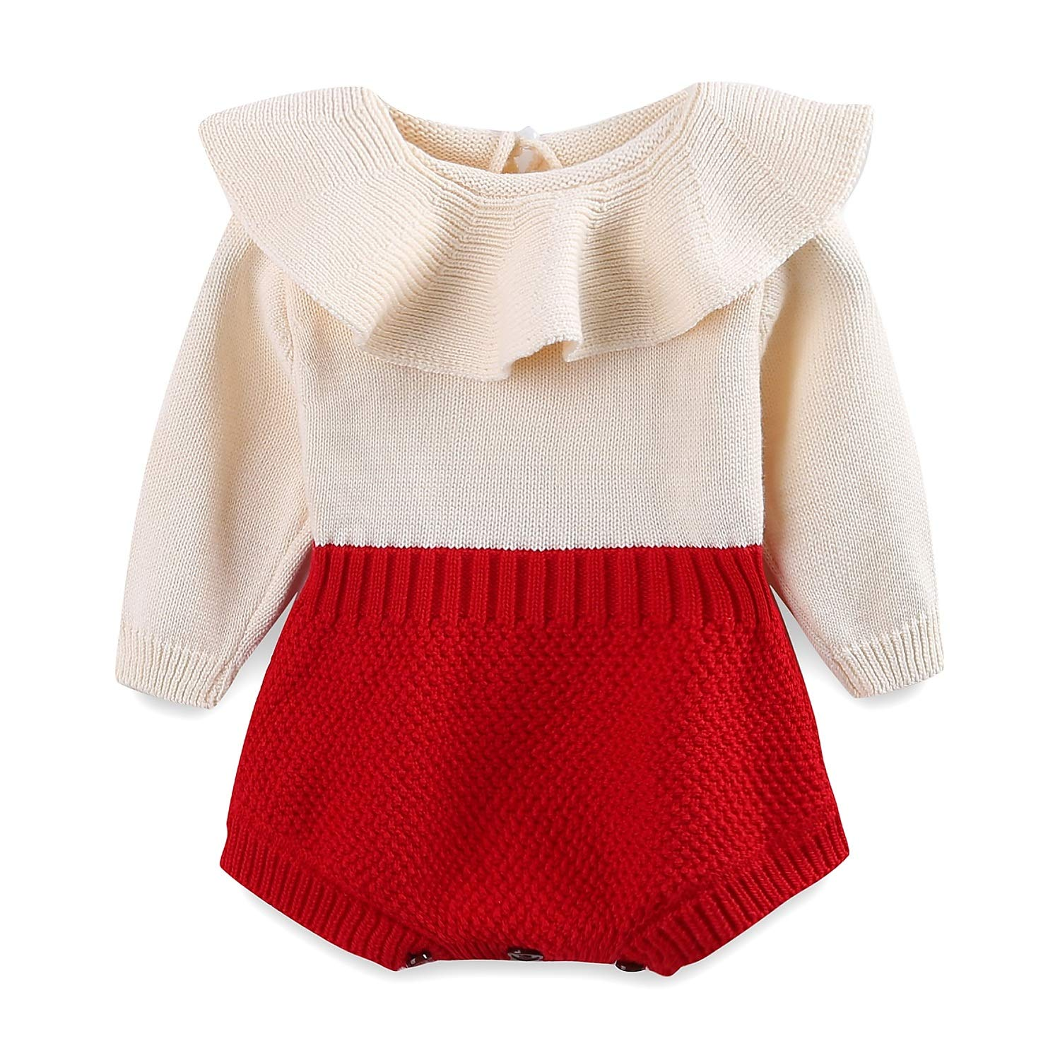 Mud Kingdom Baby Girl Knit Rompers Collar Sweet