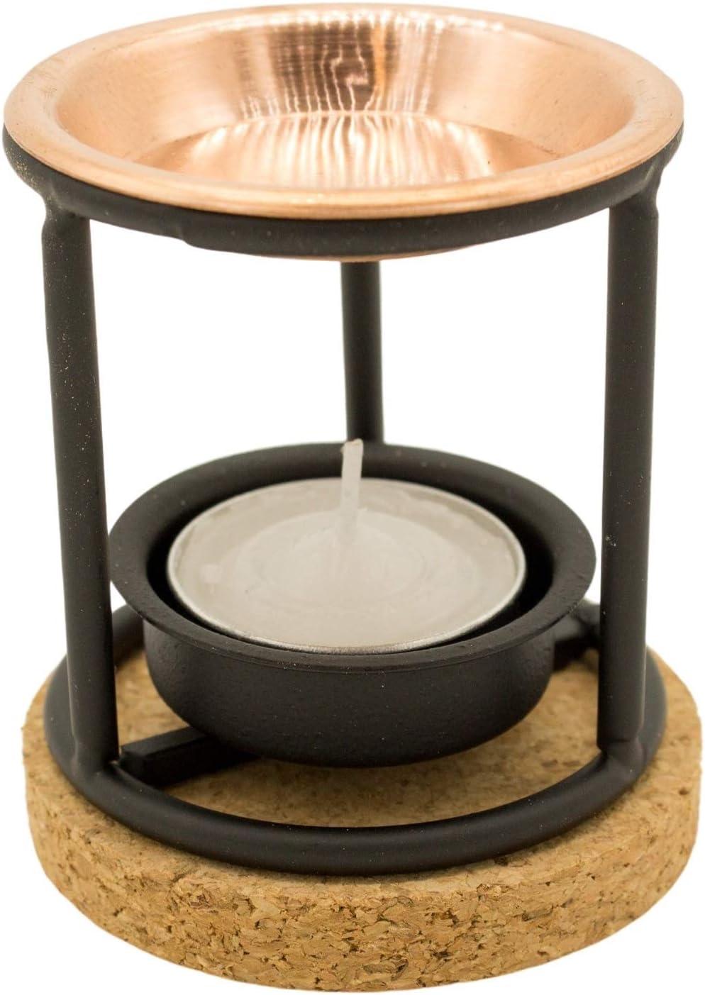 Quemador de incienso de acero estable con sartén de cobre y placa de corcho, ideal para ahumar incienso