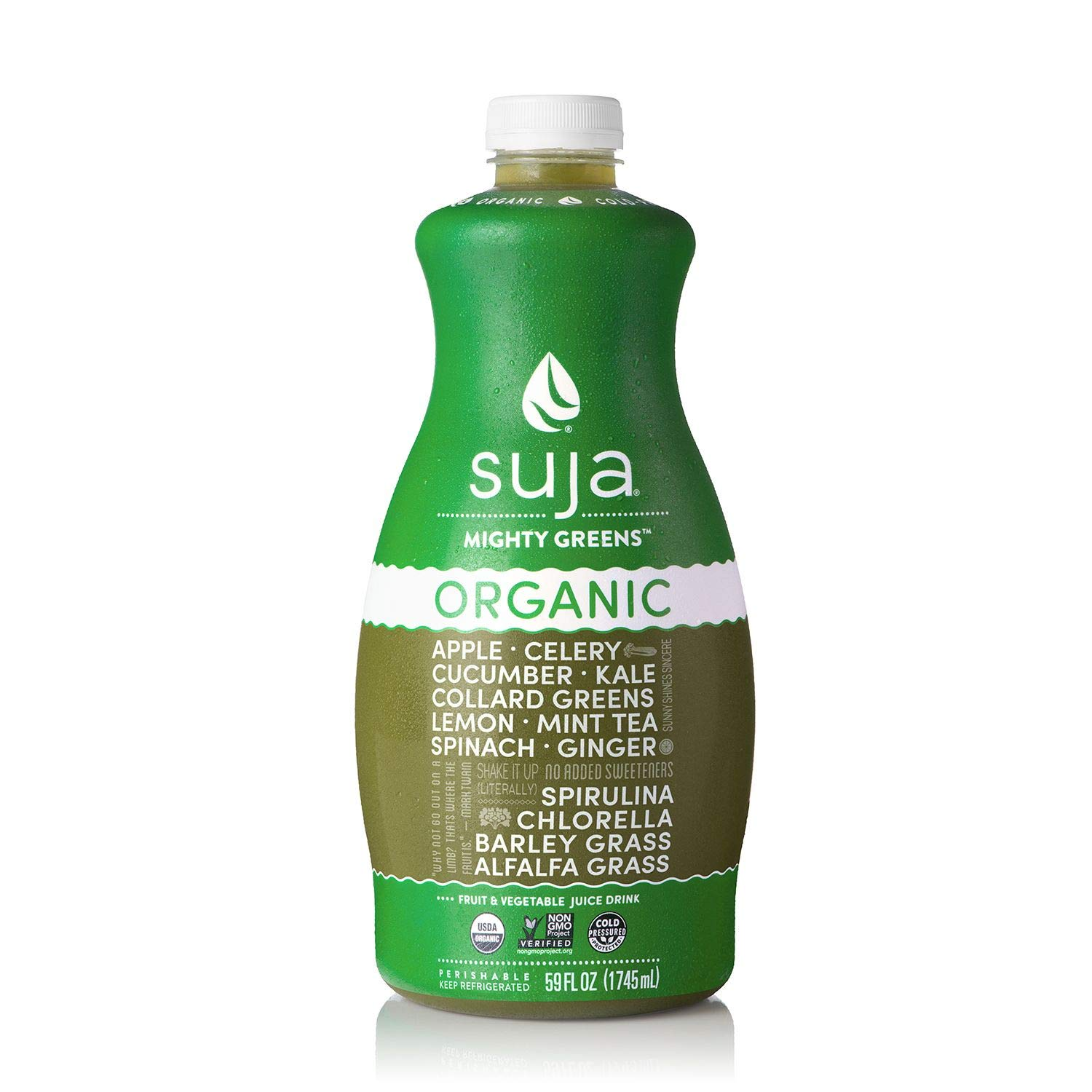 Suja Mighty Greens Organic Fruit & Vegetable Juice Drink 59 fl. oz. bottle. A1