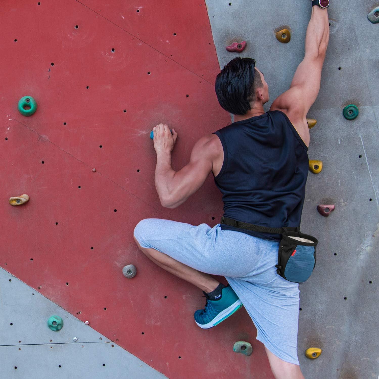 MoKo Bolsillo de Tiza con Cinturón Ajustable y Mosquetón Cordón para Deportes, Bolsa de Magnesio al Aire Libre para Escalada en Roca, Levantamiento de ...