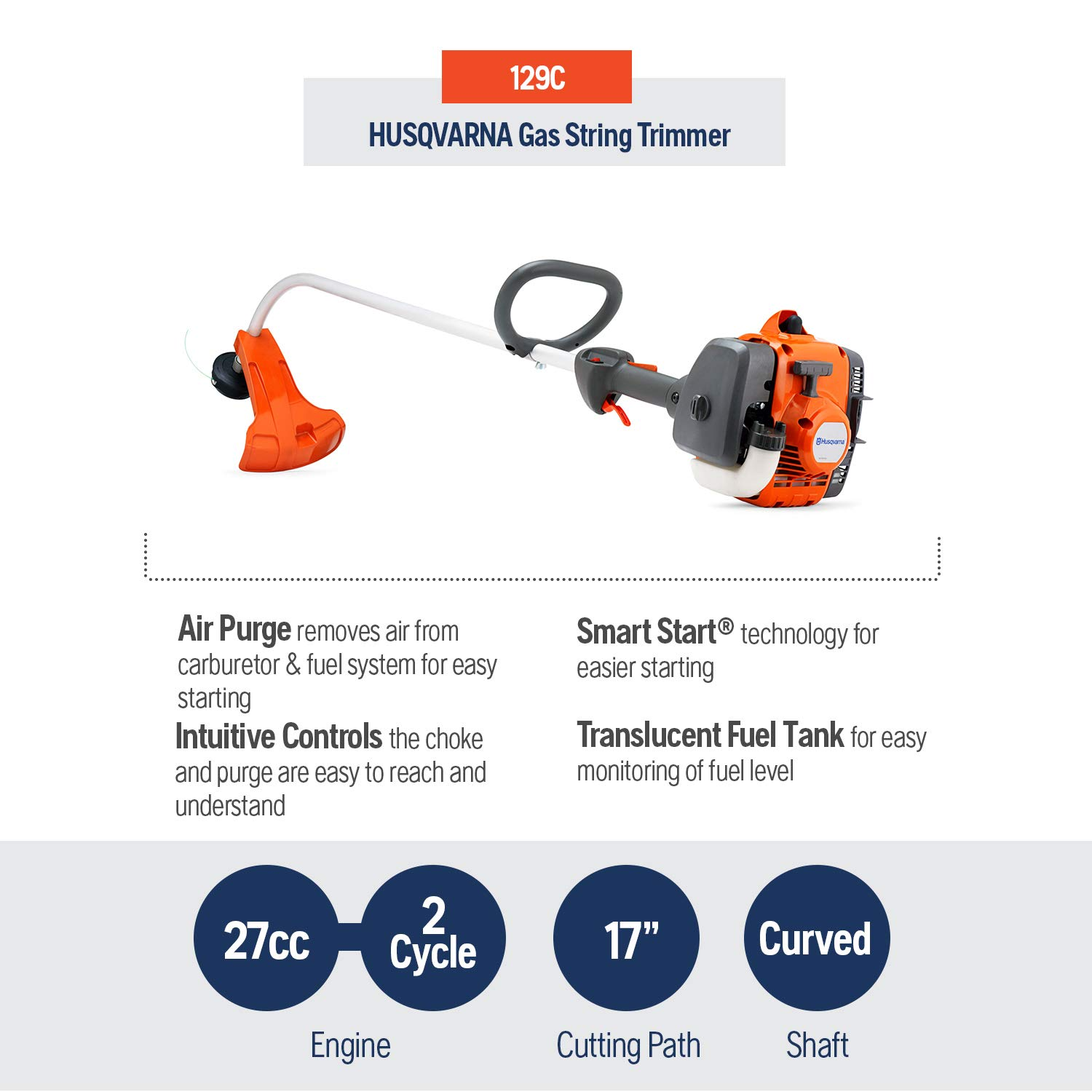 Husqvarna 129C, 17 in  28cc 2-Cycle Gas Curved Shaft String Trimmer