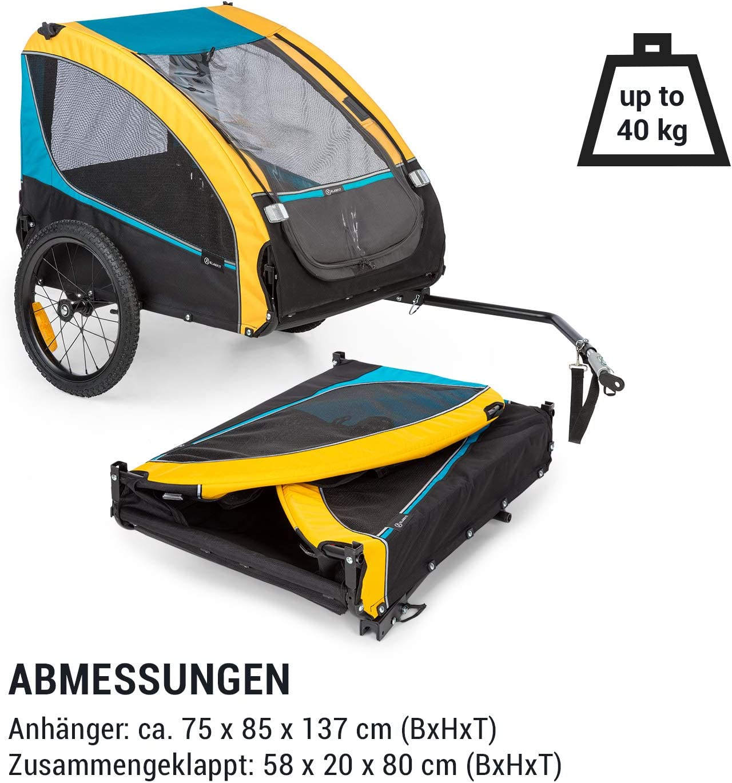 40 kg, 282 L Volumen,Material faltbar,maximale Belastbarkeit 600D Oxford Canvas mit wasserdichter PVC-Beschichtung,SmartSpace Concept Klarfit Husky Race Fahrrad-Hundeanh/änger,ca