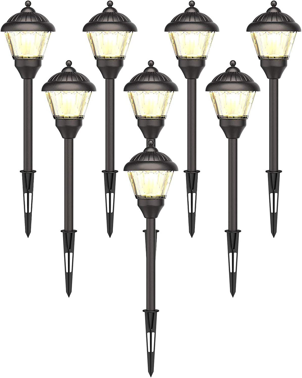 GOODSMANN Landscape Lighting Low Voltage Path Lights LED 1.5 Watt Floodlight with Metal Spike and Connector 100 Lumens for Outdoor Lighting Garden Patio Yard (8 Pack) 9920-G115-08