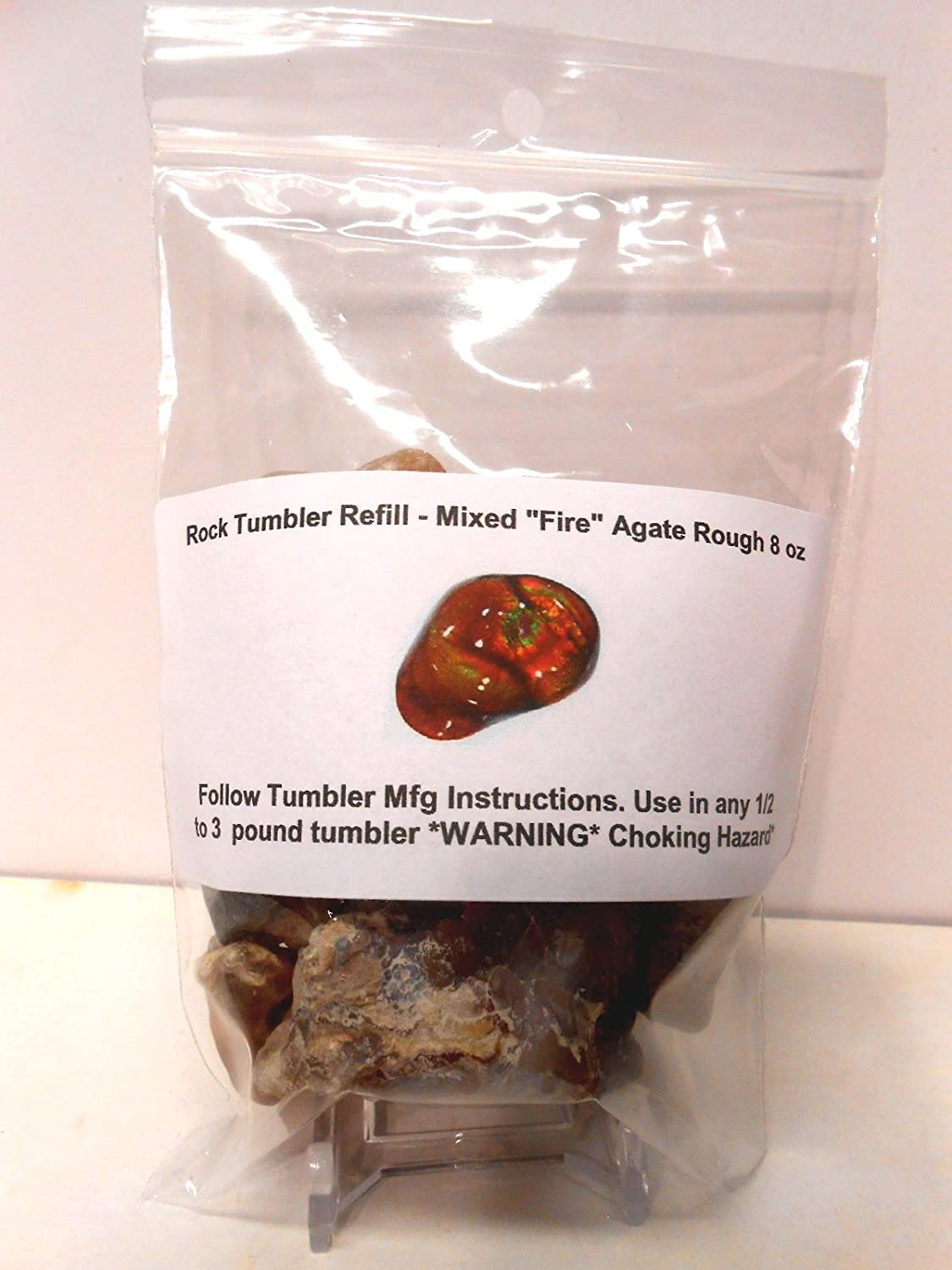 Rock Tumbler Gem Refill Kit Mixed Fire Agate Rough From The Mines of Calvillo,(Aguascalientes) Mexico, Deer Creek & Slaughter Mt. Arizona. 8 oz Rockhound's 1st Choice