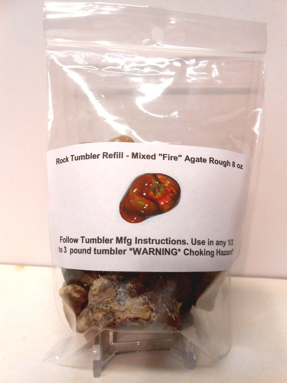 Rock Tumbler Gem Refill Kit Mixed ''Fire'' Agate Rough From The Mines of Calvillo,(Aguascalientes) Mexico, Deer Creek & Slaughter Mt. Arizona. 8 oz