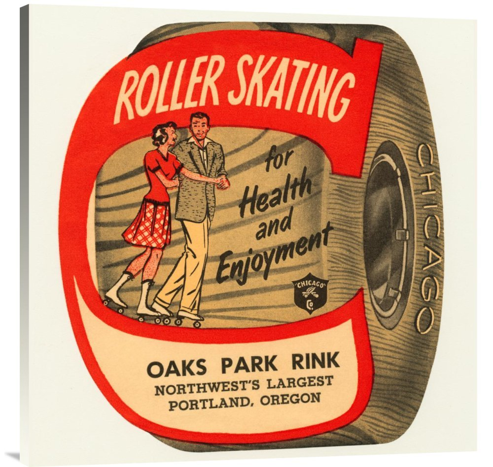 Global Gallery GCS-375777-36-142 ''Retrorollers Roller Skating For Health & Enjoyment'' Gallery Wrap Giclee on Canvas Wall Art Print
