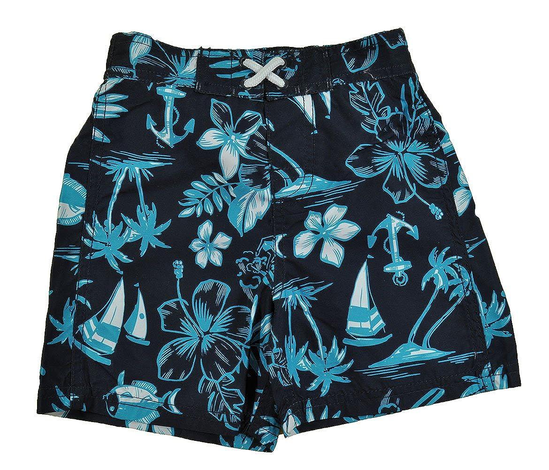 Osh Kosh Bgosh Boys Navy Blue Hawaiian Print Swim Trunk
