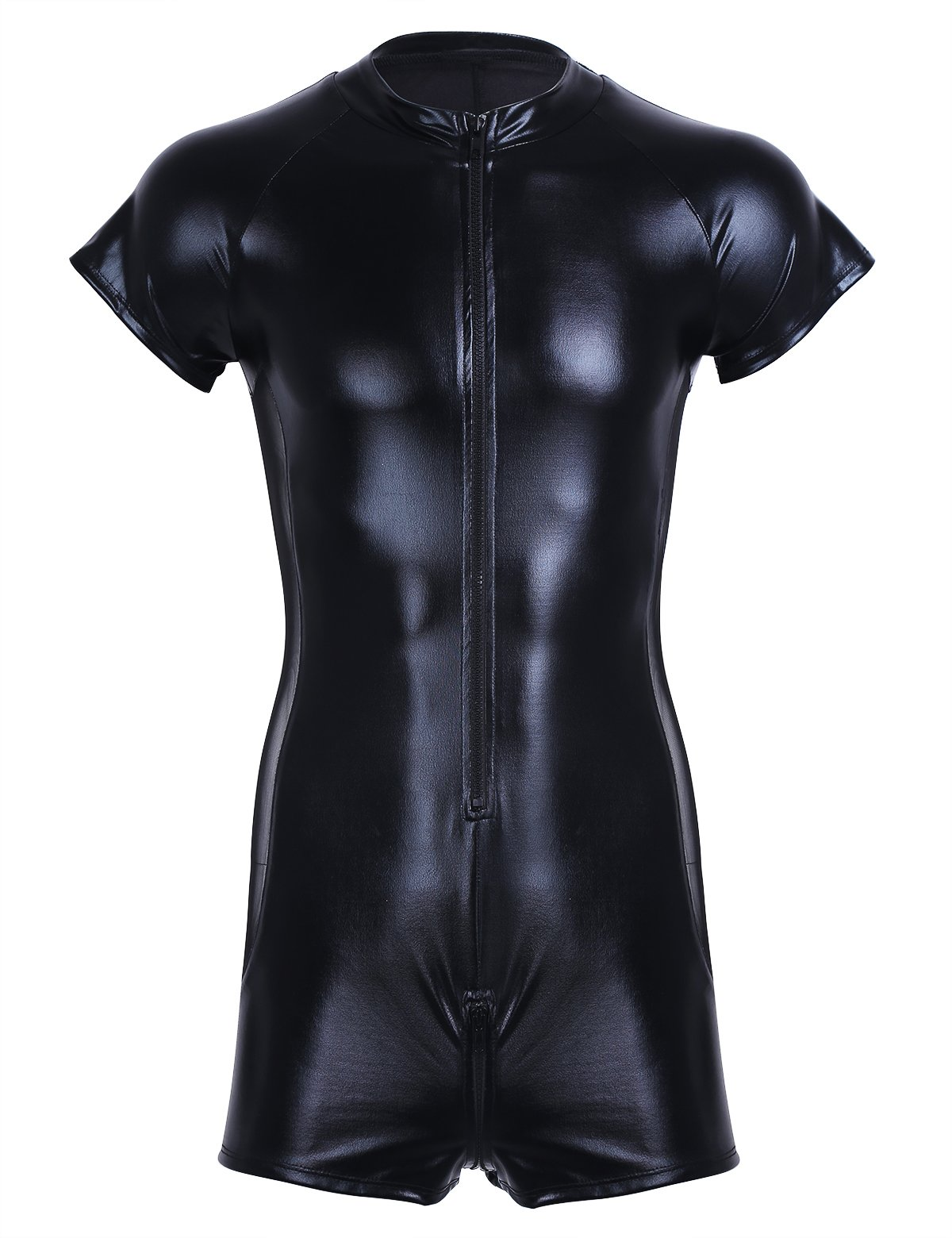 Freebily Sexy Men One-Piece Leotard Patent Leather Short Sleeve Zipper Bodysuit Black X-Large