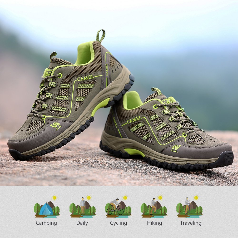 CAMEL Mens Lightweight Hiking Shoes Leather Breathable Walking Sneakers for Sports Casual, Army Green/Fruit Green, 9.5 D(M)US Labeled 265