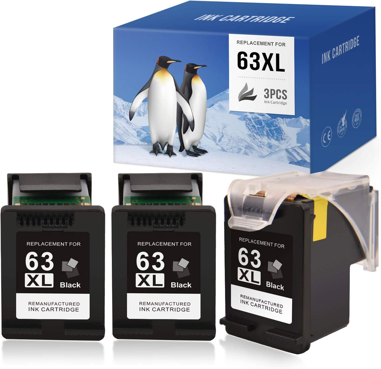 SAILNER Remanufactured Ink Cartridge Replacement for HP 63 63XL 63 XL Eco-Saver use with OfficeJet 3830 5255 5258 4650 4655 Envy 4520 4512 DeskJet 1112 1110 3632 3630 (Black, 1+2 Pack)