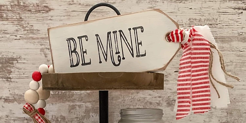 Mini Valentine Sign Valentine Tiered Tray Sign Hugs and Kisses Sign Valentine Tiered Tray Decor Farmhouse Valentines Decor