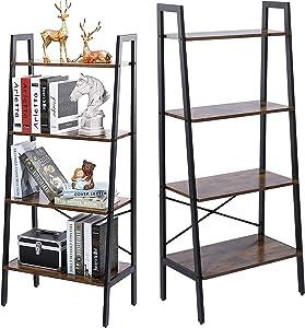 4 Tier Ladder Bookshelf Rustic Bookcase Storage Rack Shelf for Home Office Living Room Easy to Install