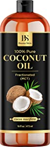 Fractionated Coconut Oil – 100% Pure & Natural Premium Therapeutic Grade - Carrier Oil for Essential Oils, Moisturizing for Skin & Hair, Relaxing Massage, Great for Dogs – 16 oz by Buena Skin
