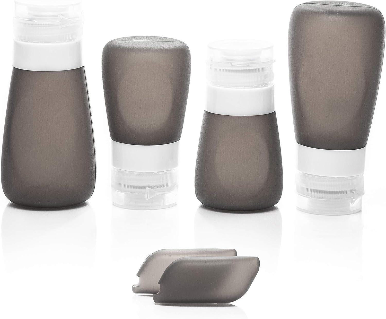 Botellas de Silicona para Viaje - Botes Vacios Rellenables a Prueba de Fugas para llevar Líquidos en el Avión, Aprobados por la TSA. Empaque su Champú, Acondicionador, y Jabón con su Equipaje de Mano.
