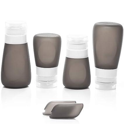 Botellas de Silicona para Viaje - Botes Vacios Rellenables a Prueba de Fugas para llevar Líquidos en el Avión, Aprobados por la TSA. Empaque su ...