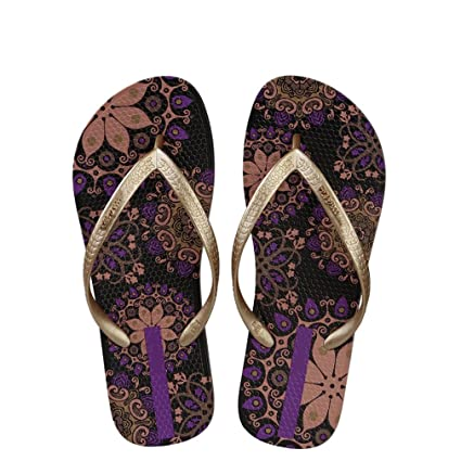 8278e5451 Amazon.com  flip flops Women Beach Bohemia Floral Summer Slippers Ladies  Sandals Shower Slides  Home   Kitchen
