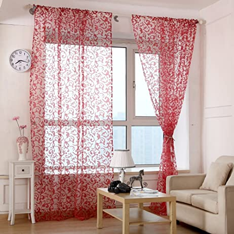 Rod Pocket Type Curtain Yarn Bedroom Cortinas Living Room Tulle Window  Screening Modern Sheer Curtain Flocked