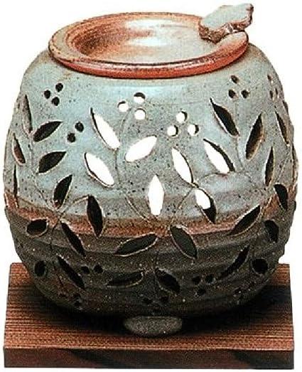 常滑焼・石龍窯 カ38-10 茶香炉 焼杉板付 径10×10cm
