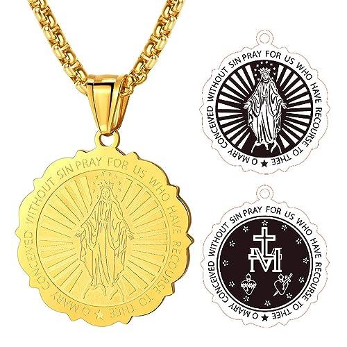 Virgin Mary Medal Pendant Necklace, FaithHeart Stainless Steel Christian  Faith Jewelry (3 Colors)