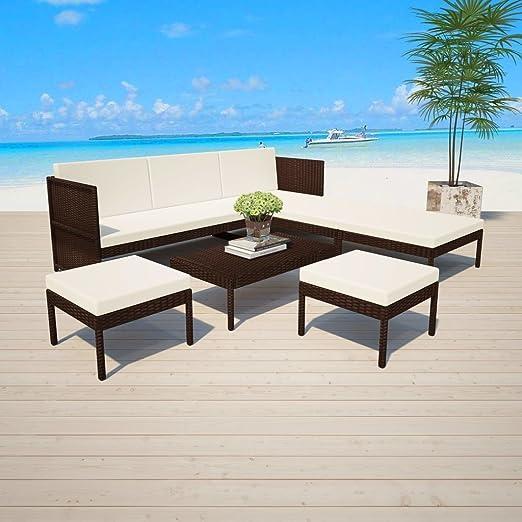 Divani Angolari Con Tavolino.Hobbyesport Divano Angolare Da Giardino Con Due Pouff E Tavolino