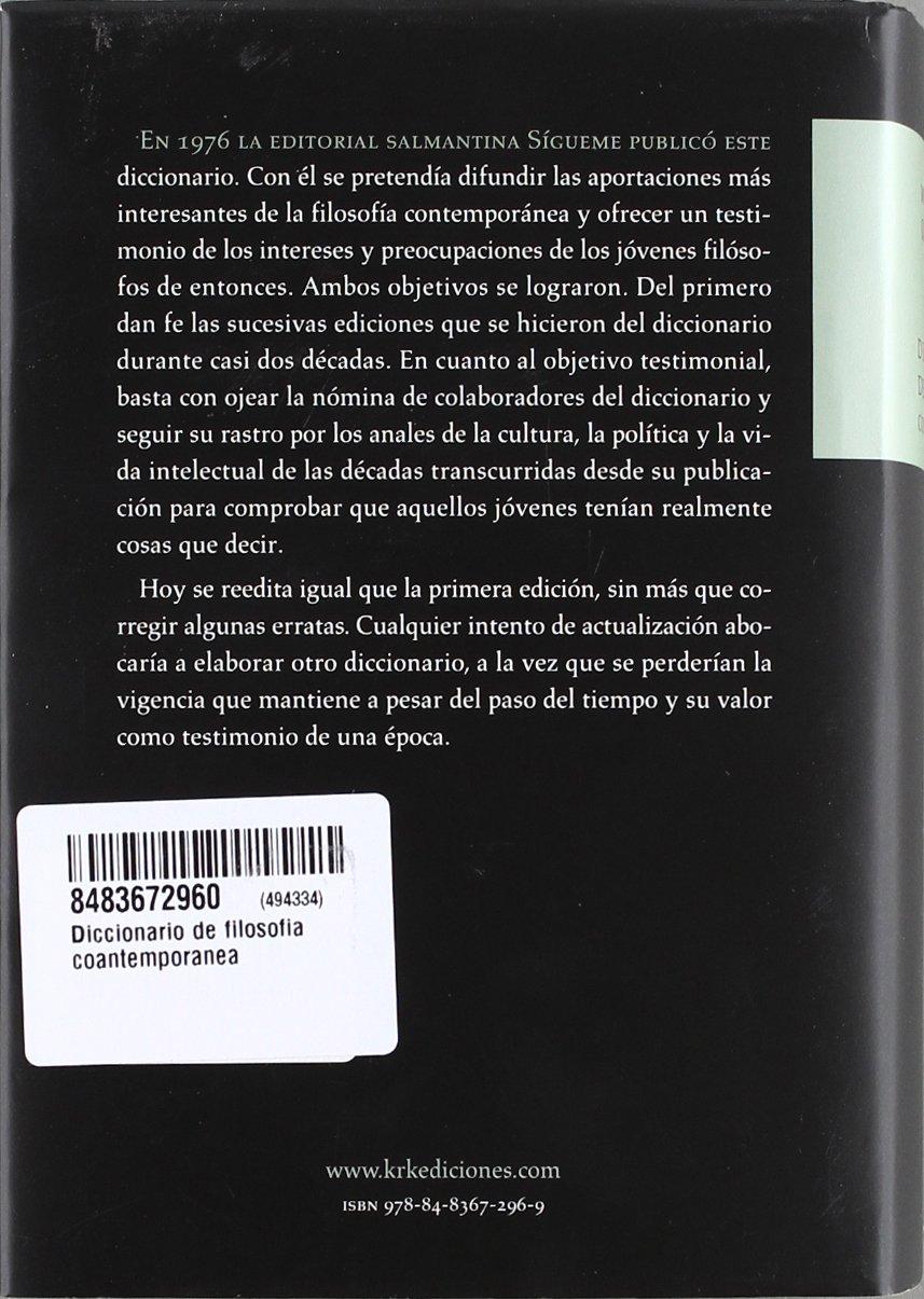 DICCIONARIO DE FILOSOFIA CONTEMPORANEA: Amazon.es: MIGUEL A. QUINTANILLA FISAC, DIR.: Libros