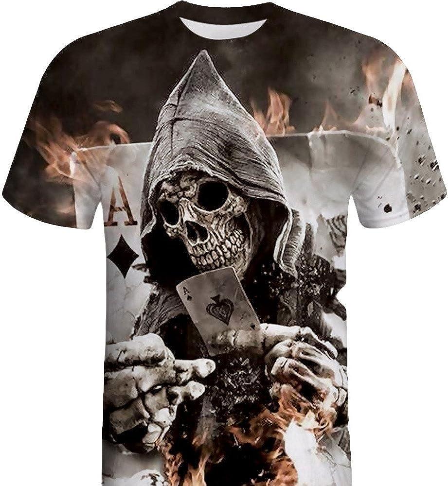Kirbaez Men/'s T-Shirt Fashion Short Sleeve Slim Fit Personality Skull 3D Printing Casual Sport Shirts Tops Blouse