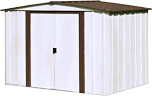 Arrow 8' x 6' Newburgh Eggshell with Coffee Trim Low Gable Electro-Galvanized Steel Storage Shed