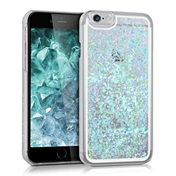 kwmobile Carcasa compatible con Apple iPhone 6 / 6S -funda agua con diseño de purpurina y estrellas en azul claro / transparente