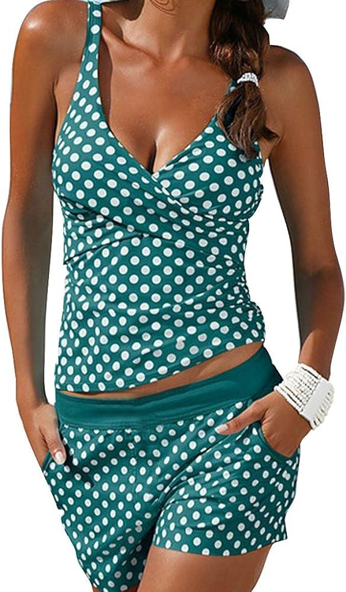Aleumdr Bademode Tankini Set Damen Ruched Badeanzug bauchweg Push up mit B/ügel Oversize gut elastisch S-XXXL