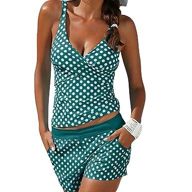 2e7a2cd5eedaf9 Highdas Damen Tankini Set Elegant Retro Tupfen Push Up Bikini Badeanzug mit Hotpants  Schwarz Grün S