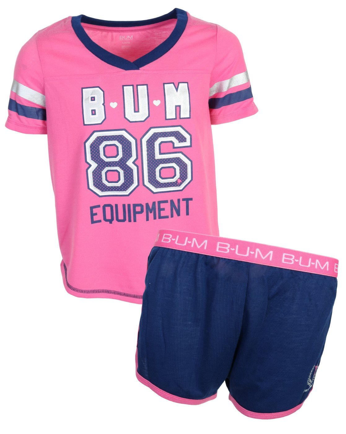 B.U.M. Equipment Girl's Summer Pajamas Sleepwear Short Set, Fuchsia, Large/10-12'