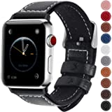 Fullmosa Smart Watch Band 40mm 38mm Genuine Leather Watch Bands Fitness Accessary,38mm 40mm LichiBlack + Silver Buckle