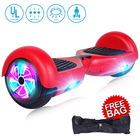 jolege Self Balancing Hoverboard, 6.5 Hoverboard Self Balancing Scooters for Kids Adults with Built-in Bluetooth Speaker LED Flash Lights – UL2272 Certified Free Carry Bag Available