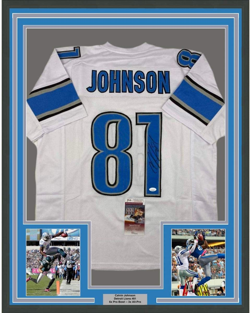 Framed Autographed/Signed Calvin Johnson 33x42 Detroit White ...