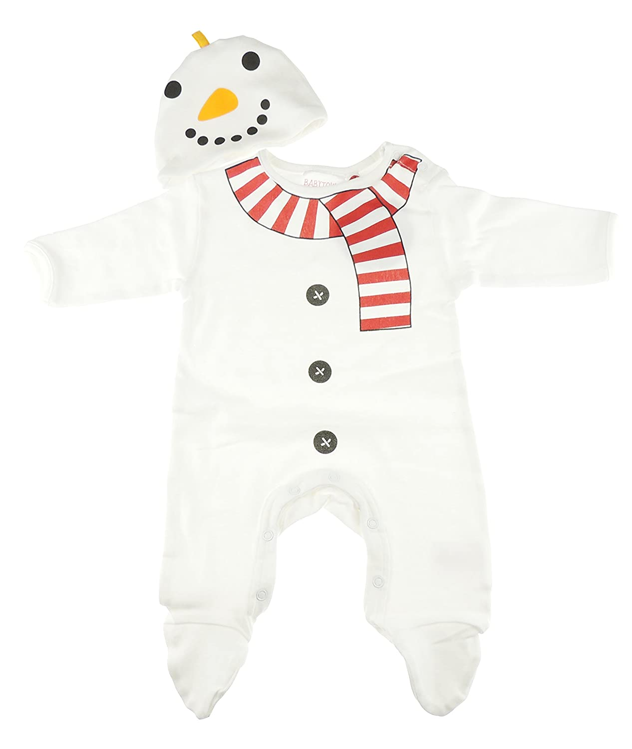 Baby Girls Boys Soft Christmas Festive Romper All in One & Hat Gift Set White Snowman Newborn Glamour Girlz