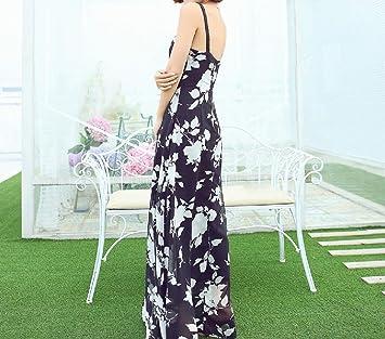 wzh de las mujeres negro floral falda Bohemia estilo vestido ...