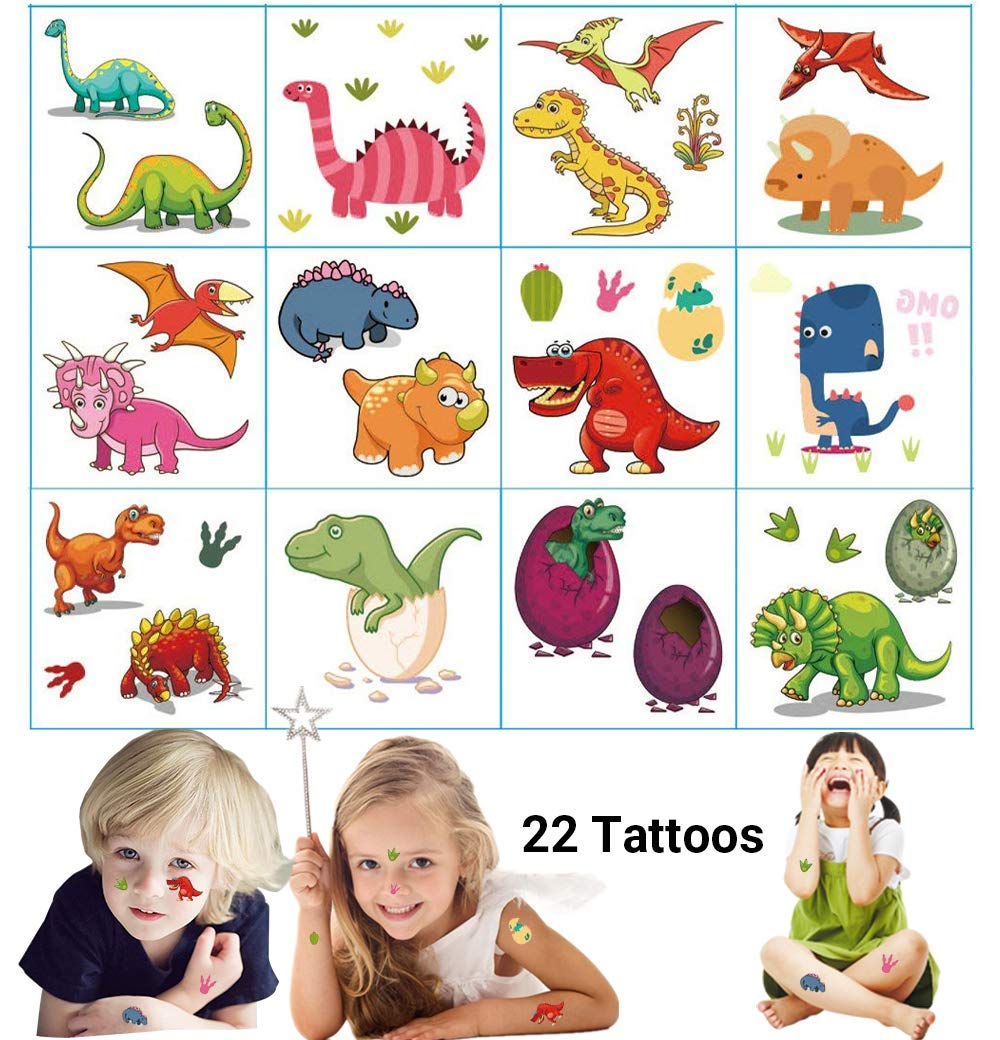 Dream Loom Temporary Tattoos for Kids Birthday Party ,Dinosaur Party  Supplies Party...