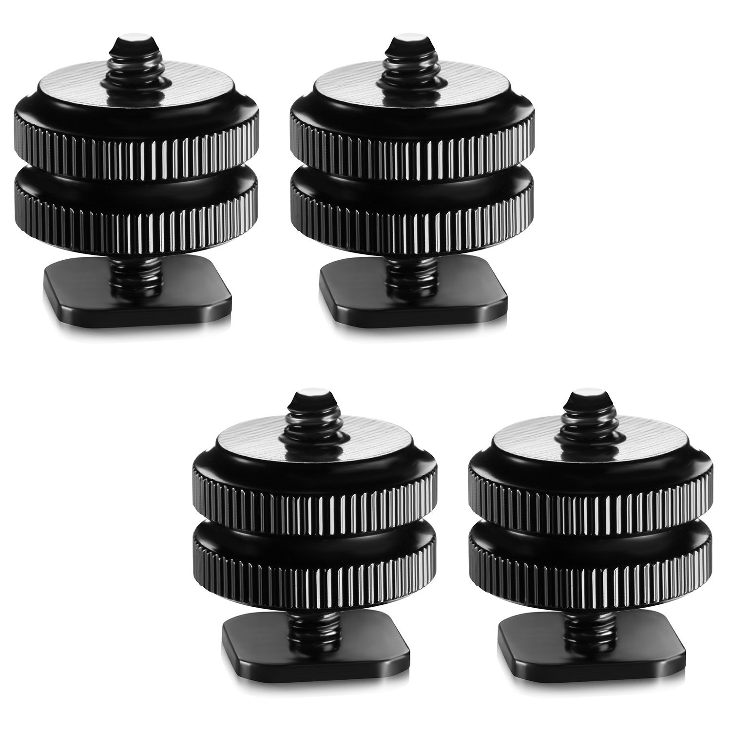 Neewer Black 1/4 inch Tripod Screw to Flash Hot Shoe Mount Adapter (Set of 4)
