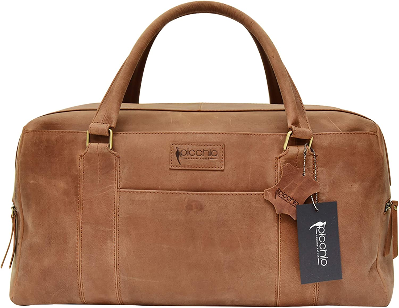 Picchio Large Real Premium Quality Cowhide Leather Duffel Travel Bag Gym Bag Overnighter Bag Men Women