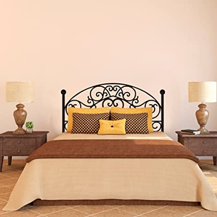 Wrought Iron Headboard Wall Decal Square Plant Wall Sticker Bedroom Wall Decor Wall Graphic Wall Mural